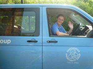 Nyree driving the van